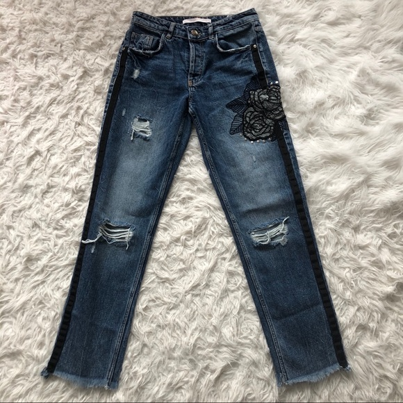 Zara Trafaluc Lace Embroidered Jeans